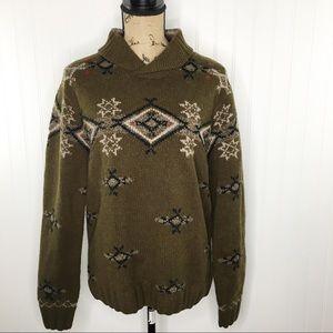 Daniel Cremieux Southwest Fair Isle Wool Sweater M